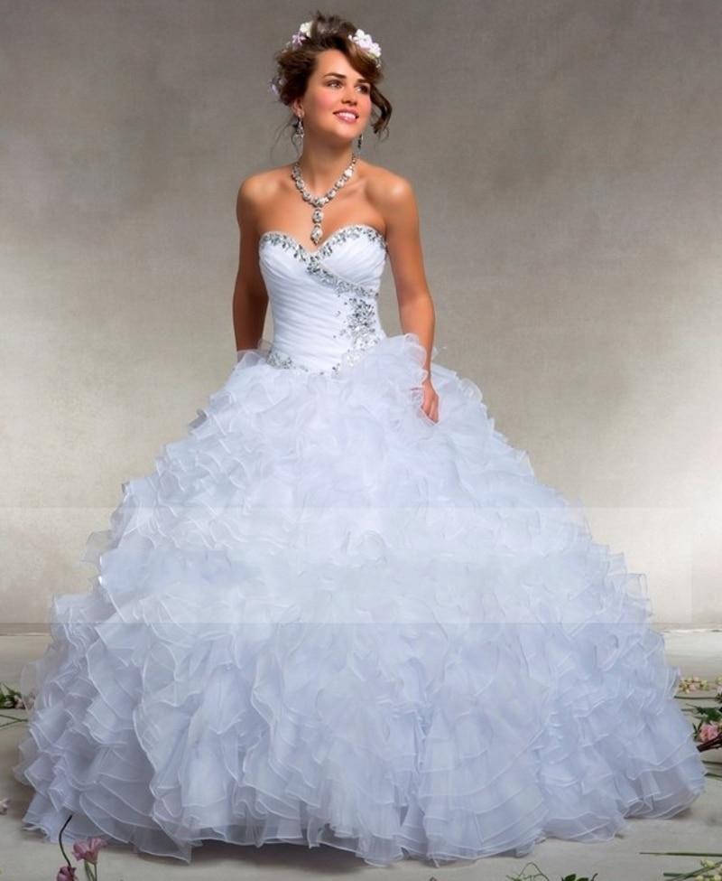 White Ruffle Ball Gown Wedding Gowns 2019 Bride Dress Sexy Vestido De Noiva Robe De Mariee Sweetheart Wedding Dress