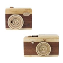 High Quality Wooden Music Box Retro Camera Design Classical Melody Birthday Home Decoration
