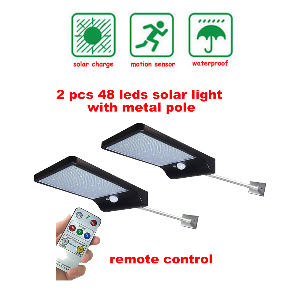 2/4pcs PIR Motion Sensor Solar Lights 48 LEDs Outdoor Separable Light For Garden Security Waterproof Wireless Wall Lamp Security