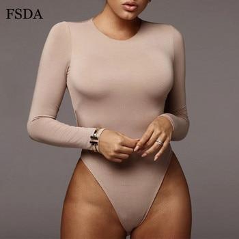 FSDA O Neck Long Sleeve Solid White Sexy Bodysuit Women Black Autumn Winter Body Top Gray Casual Lady Streetwear Bodysuits