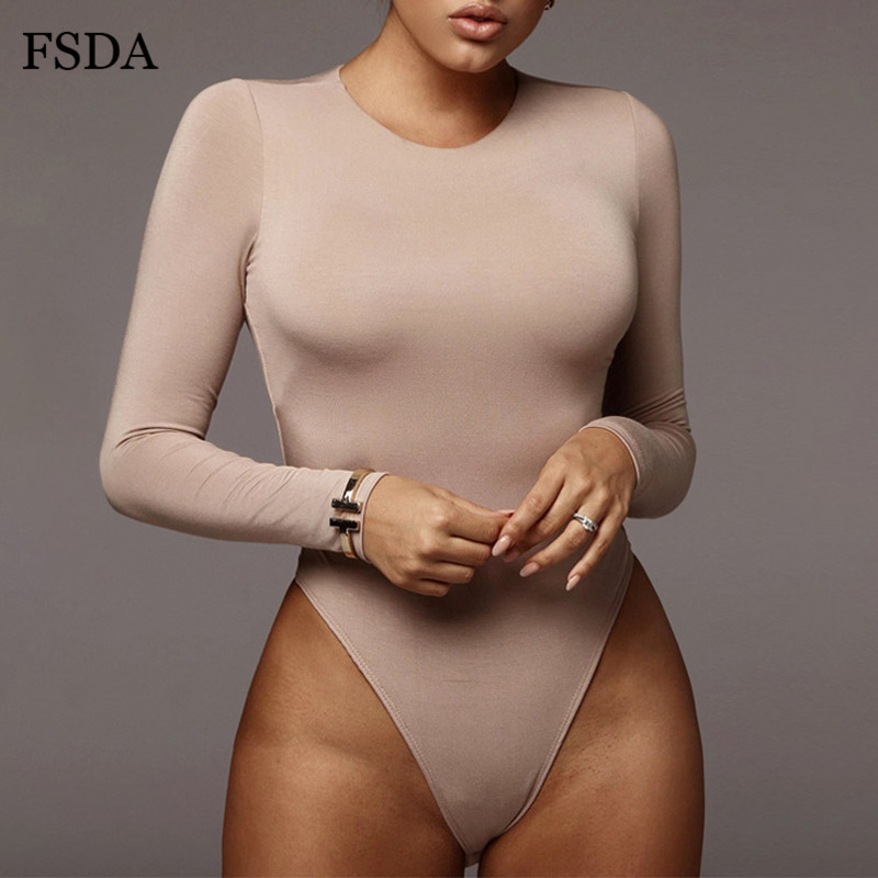 Женское боди с круглым вырезом FSDA, однотонное белое боди с длинным рукавом, черный осенне зимний Топ серого цвета, повседневный женский костюм для улицы|Боди| - AliExpress