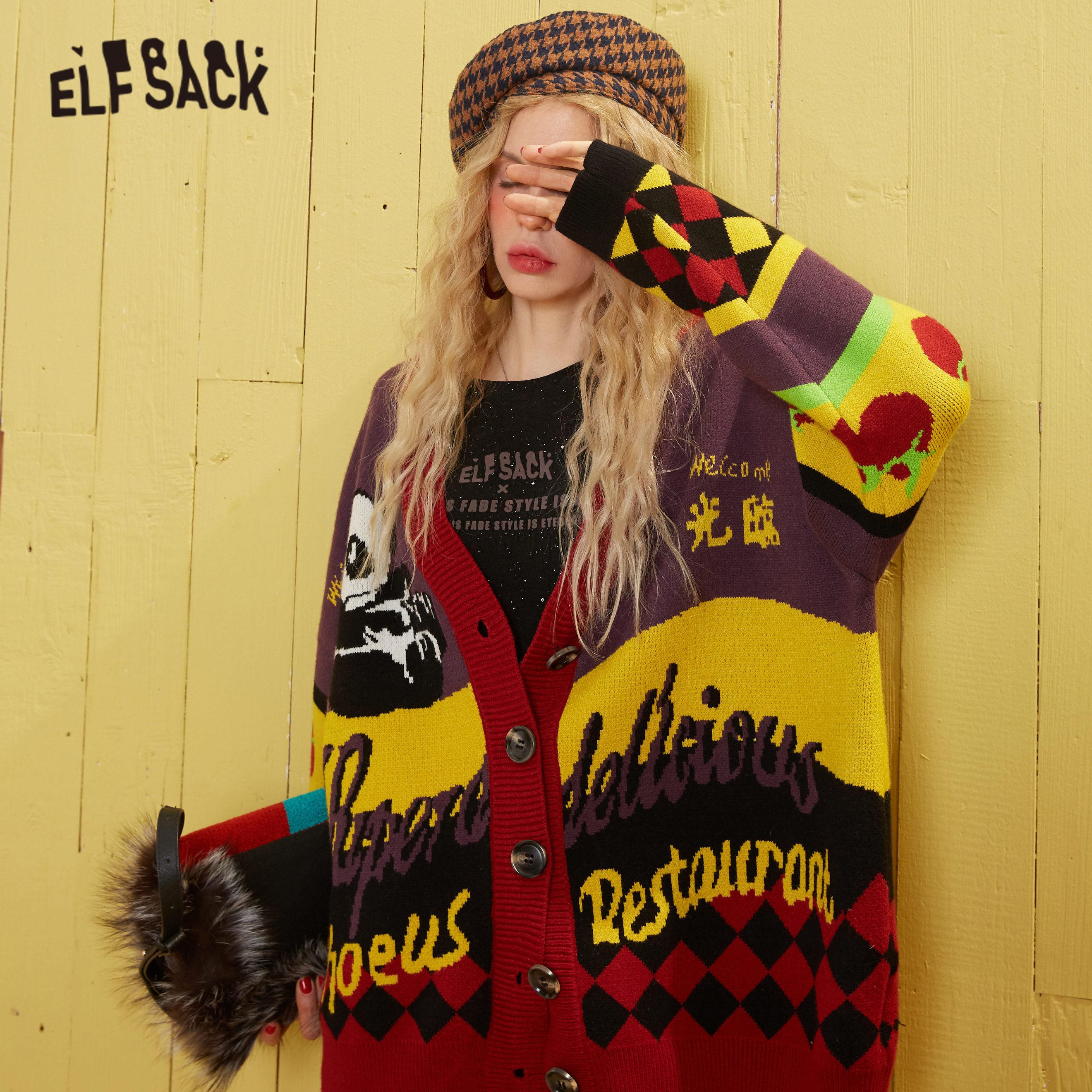 US $29.9 35% OFF ELFSACK Yellow Colorblock Single Button Knit Cardigan Women Sweaters 2020 Spring Korean Geometric Long Sleeve Ladies Daily Top   