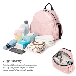Image 4 - New Fashion Diaper Bag for Mother Pink Large Capacity Solid Baby Bag Backpack with 2 Straps Stylish Maternity Nappy Changing Bag