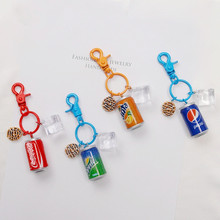creative Drinks Key chain Cola Fanta Can keychains Accessories Men and Women Car Bags Pendant Ring DIY Gifts