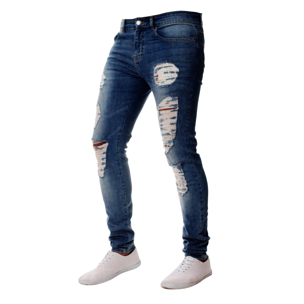 Jeans For Men Slim Fit Zipper Classic Denim Jeans Skinny Frayed Pants Distressed Casual Skinny Straight Elasticity Pants#G2