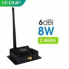 Edup amplificador de potência 8w, wi-fi, 2.4ghz, wifi, repetidor de sinal, roteador, extensor de alcance, impulsionador 6dbi, adaptador de antena sem fio