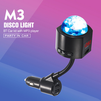 Car FM Transmitter 3 USB Chargering Bluetooth Car Kit Music Player with Detachable Disco Light LHB99 image