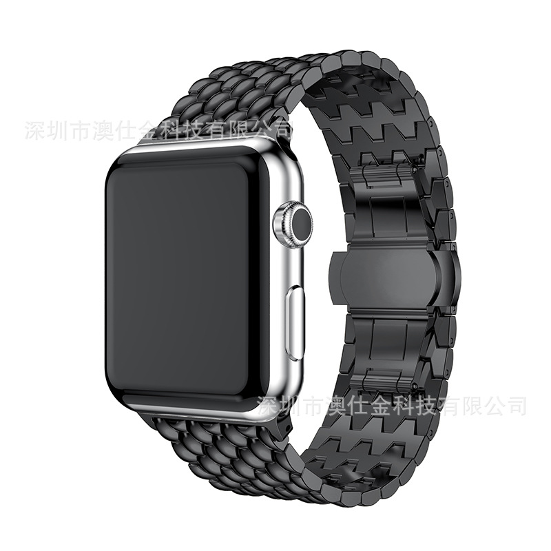 For Apple Watch Dragon Design Watch Strap Stainless Steel Metal Pattern Watch Strap 1 S 2 S 3 S S3 Universal