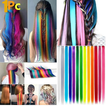 55cm Long Straight Colorful Hair Clip Highlight Rainbow Headband Ties Women Accessories Hairgrips Colored Strands - sale item Headwear