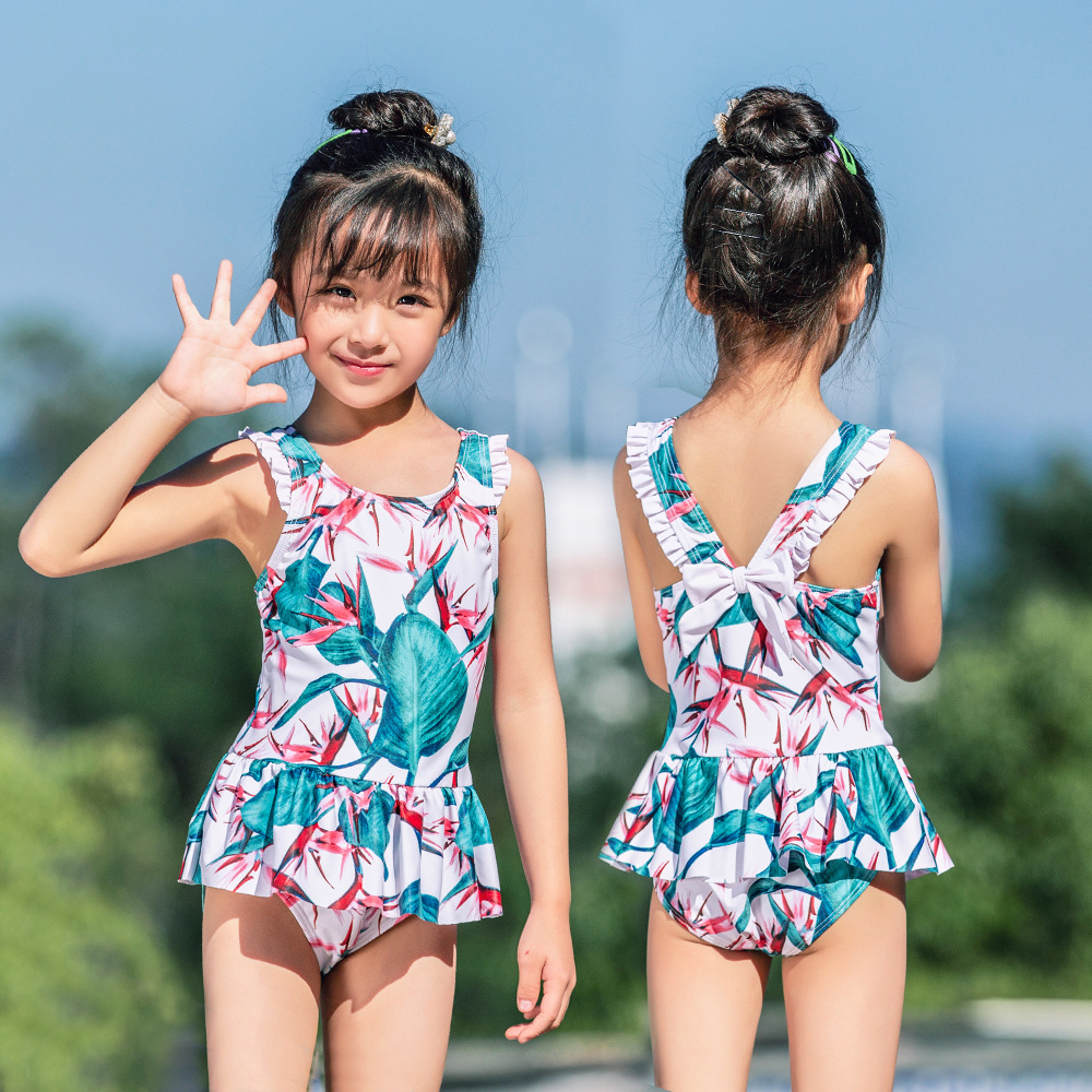 2019 Children Siamese Swimsuit Female Baby Hot Springs Skirt Swimwear Bow Cute Princess Olive Flower 1003