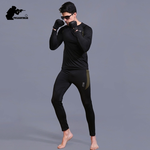 Winter Mens Thermal Underwear Suit Fleece Warm Breathable Sport Underwear Suits Men Army High Elastic Quick Drying Set AF152 Islamabad