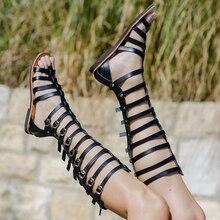 Gladiator Women Sandals Summer Flat Heel High Boots Platform