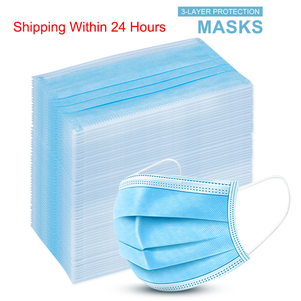 50Pcs Dustproof Protective Mask Disposable Face Masks 3 Layer Filtering Nonwove Mouth Mask Dustproof Anti-Haze Fog PM2.5 Mask