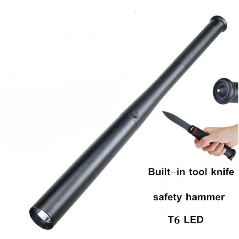 Multifunction Baseball Bat LED Flashlight With Knife T6 Super Bright Baton Torch Tactical Lamp For Emergency And Self Defense