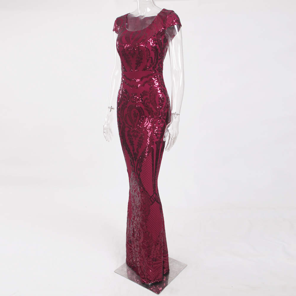 Burgundy Sequined Evening Party Dress Cap Sleeve Floor Length Stretchy Maxi Dress 2019 Autumn Winter 15