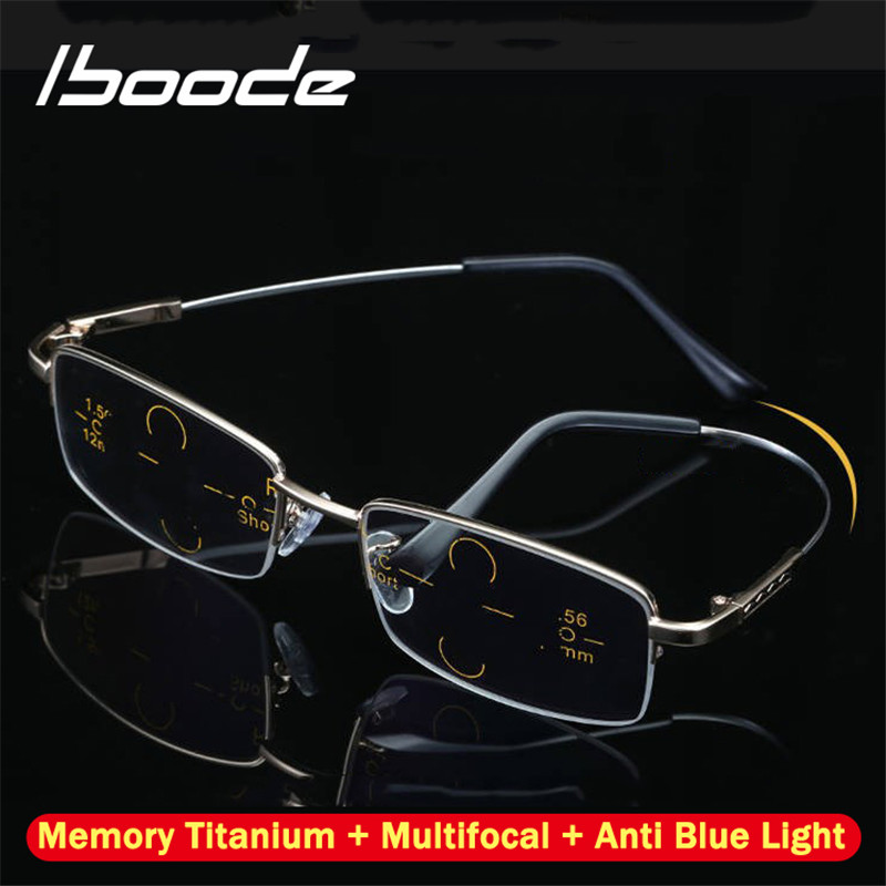Iboode Titanium Multifocal Progressive Reading Glasses Men Women Anti Blue Light Near Far Sight Alloy Presbyopic Eyewear Diopter