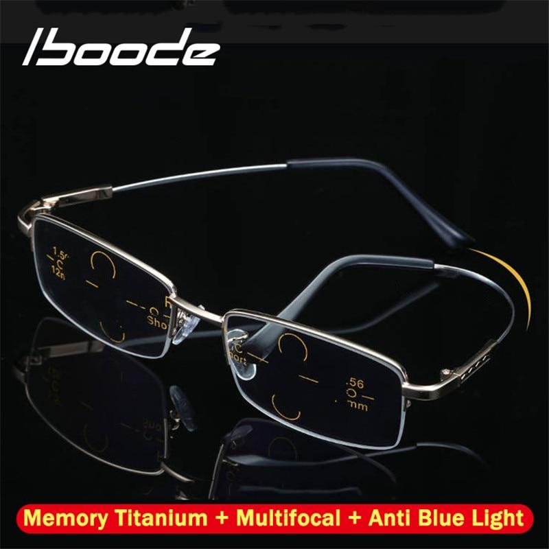 Iboode Titanium Multifocal Progressive Reading Glasses Men Women Anti Blue Light Near Far Sight Alloy Presbyopic Eyewear Diopter