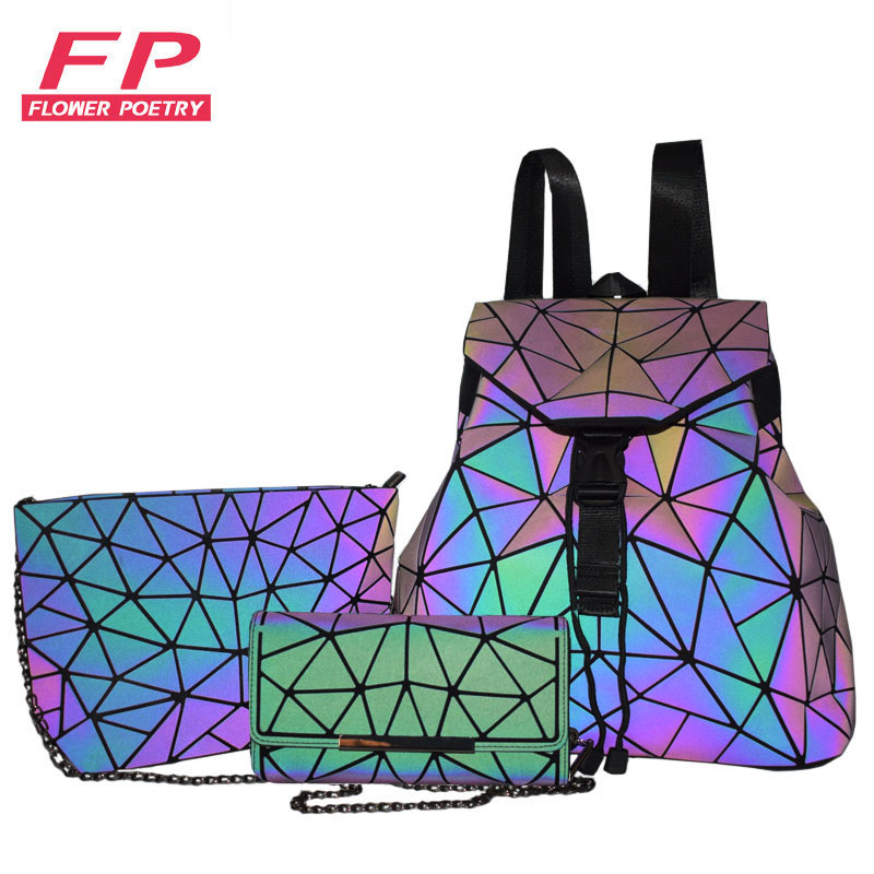 Women Backpack Schoolbag For Teenagers Girls Large Capacity Foldable Geometric Bag Pack Holographic Luminous Backpack For Travel