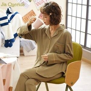 Image 4 - Minimalistischen Stil Pyjamas Frauen 2020new Frühling Herbst Baumwolle frauen Zwei Stück Plus Größe Lose Koreanischen Stil Zu Hause Kleidung Baumwolle pjs