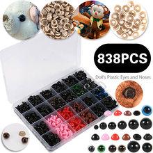 838 pièces bricolage en plastique assorti taille yeux de sécurité nez avec rondelles pour peluche poupée jouet artisanat Animal poupée Amigurumi bricolage accessoires