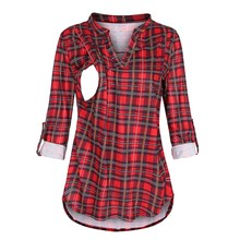 Nursing Top Women Plaid V Neck Long Sleeve Breastfeeding T Shirt Pullover Casual Elegant Pregnant Maternity Winter Clothes 19Sep cheap ARLONEET COTTON Polyester V-Neck Full Broadcloth REGULAR Natural Color women blouse clothes for feeding Pregnant Women pregnancy clothes t shirt funny