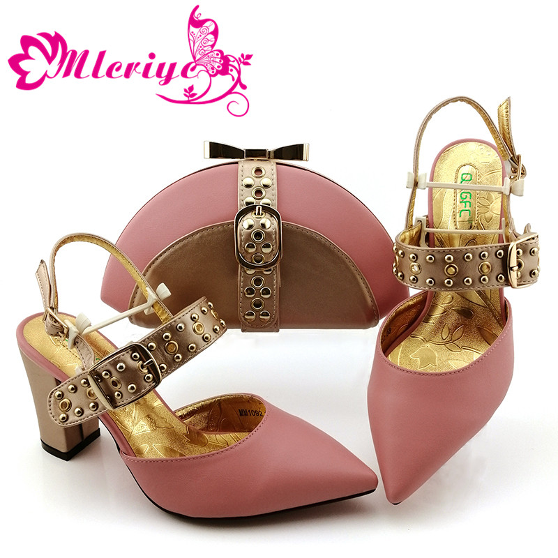 Italian Shoes With Matching Bags Set Italy African Women's Party Shoes And Bag Sets Pink Color Women Shoes