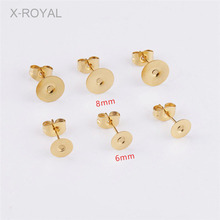 X-ROYAL 20Pcs/lot Stainless Steel Gold Color Blank Stud Earring Base fit 6mm 8mm Cabochon Beads DIY Jewelry Making Pins