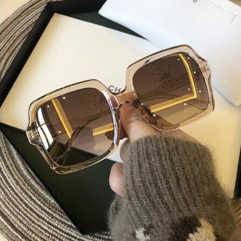 Retro óculos de sol quadrados oversized senhoras marca luxo retro grande quadro óculos de sol para mulher alta qualidade preto óculos de condução