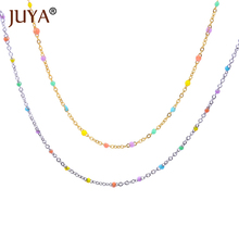 JUYA Rainbow Chain Necklace Simple Delicate Choker Trendy Women Girls Jewelry Various Colors Coated Interval Beaded Necklace