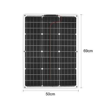 DOKIO Brand Solar Battery 50W Flexible Solar Panel 50W 12V 24v Controller +10A Solar System Kits for Fishing Boat Camping/car 5