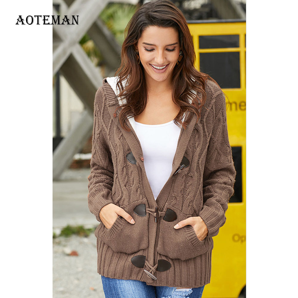 Autumn Winter Sweater Women 2020 Casual Oversize Hooded Sweater Jacket Female Tick Warm Rope Buckle Wool Lining Knitted Cardigan