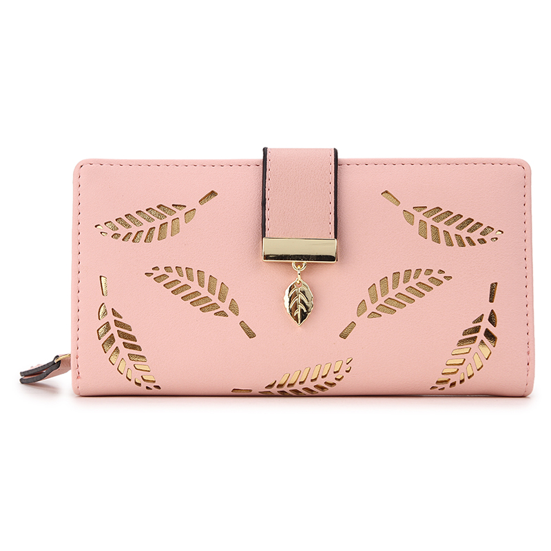 2019 mujeres hueco de oro hojas cartera larga monedero mujer carteras bolsa bolso para las mujeres bolso
