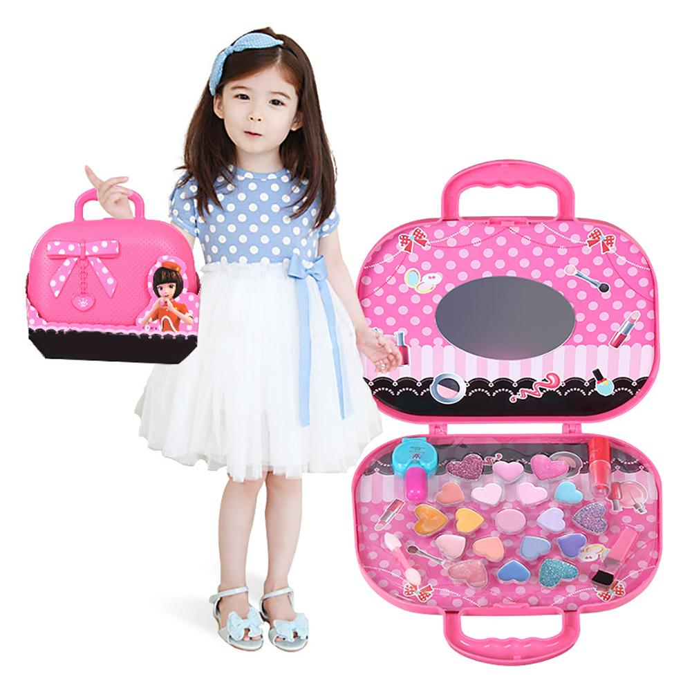 Kids Girls Make Up Toy With Comfortable Handle Simulated Princess Makeup Box Eyeshadow Lipstick Palette Girl Pretend Play Toy