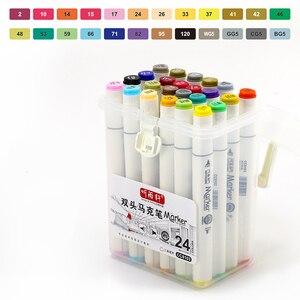 Image 3 - פעמיים בראשות סימן עט סט אספקת אמנות צבעוני עמיד למים עט מברשת עט ציור Copic מעולה סמני צבעוני עמיד למים עט