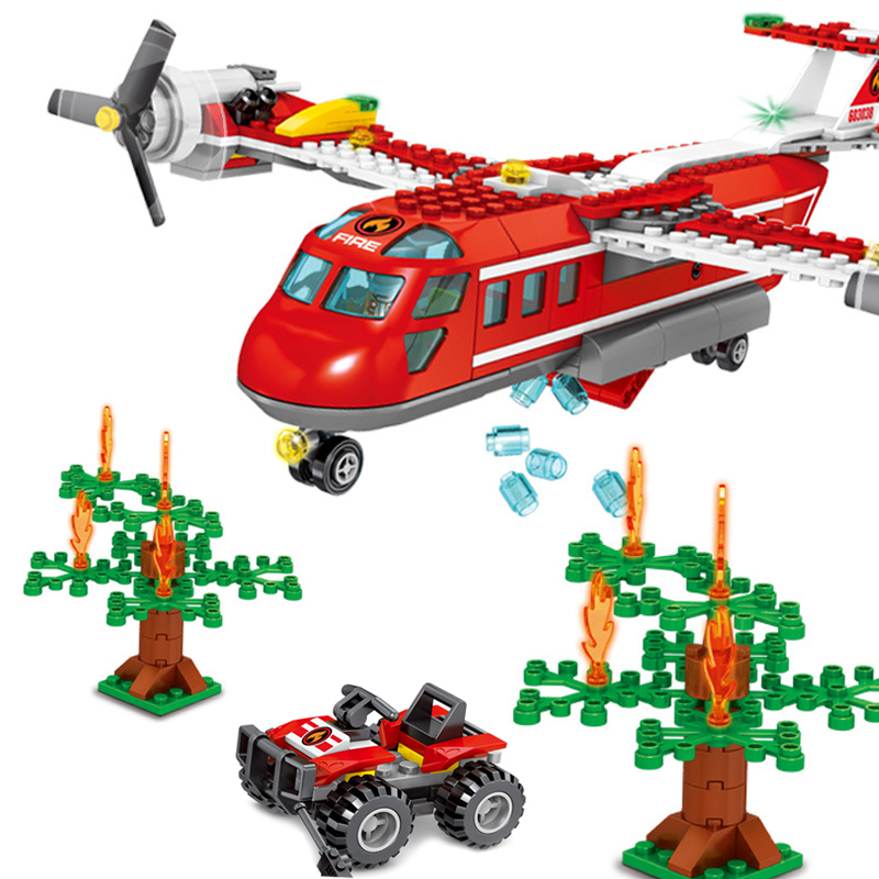 433pcs Fire Airplane Building Blocks Compatible Lego City Truck Helicopter Jeep Car Firefighter Bricks Educational DIY Child Toy