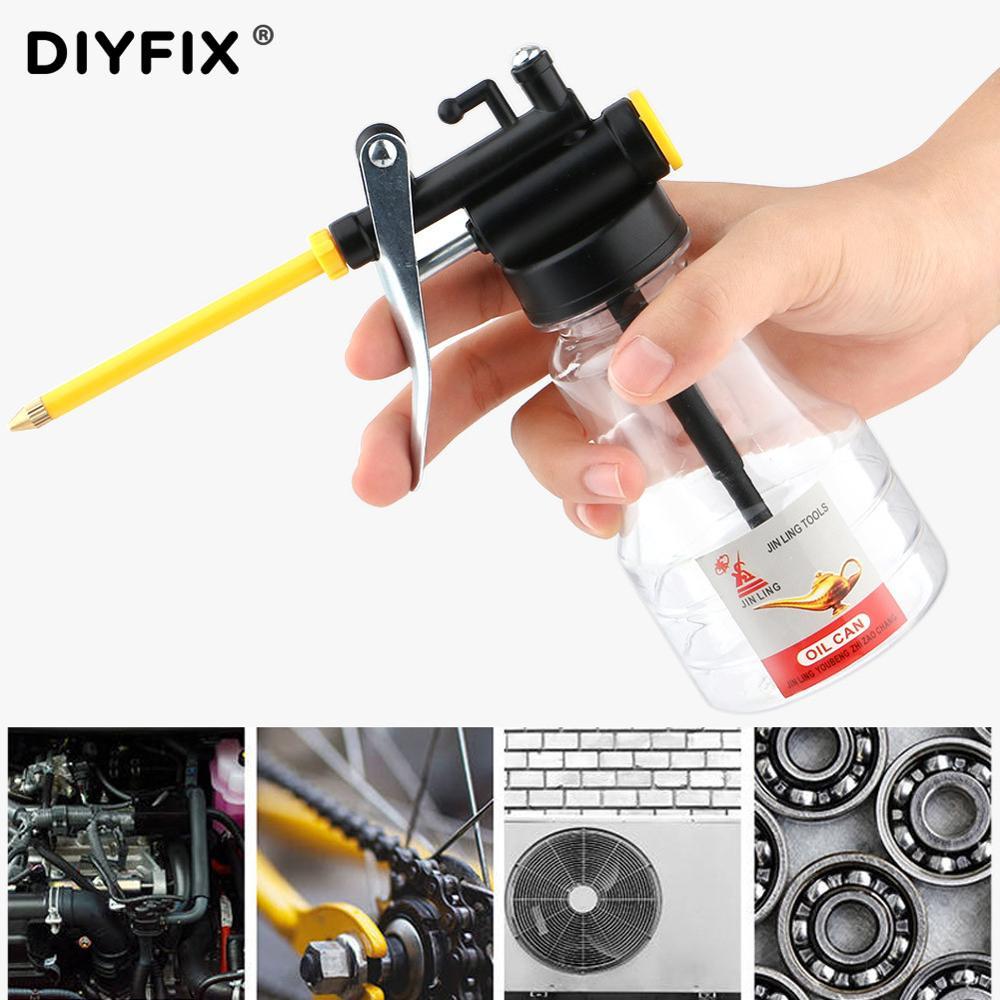 DIYFIX 250ML Clear Oil Can Oiler Lubrication Oil Plastic Machine Pump High Pressure Transparent Oiler Grease Flex Gun