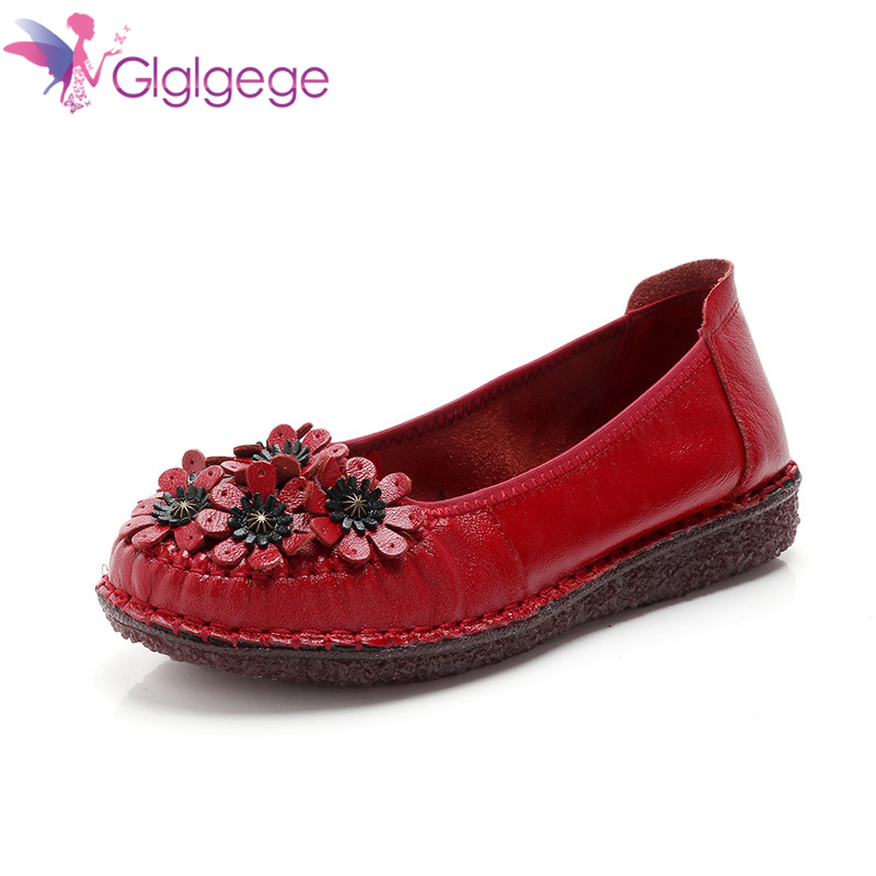 Hot Sale Glglgege 2020 Genuine Leather Round Toe Shoes Casual Flower Slip-on Spring/Autumn Rivet National Style Flats Women Shoes