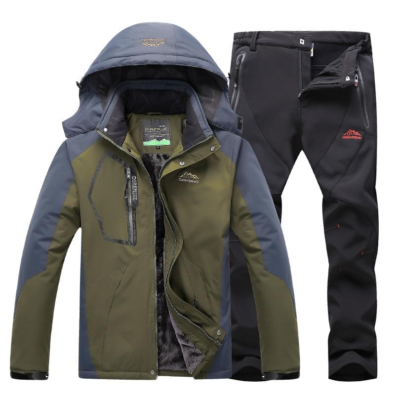 Winter Ski Suit Men Skiing And Snowboarding Sets Fleece Warm Waterproof Windproof Fleece Jacket+pant Male Outdoor Ski Suit