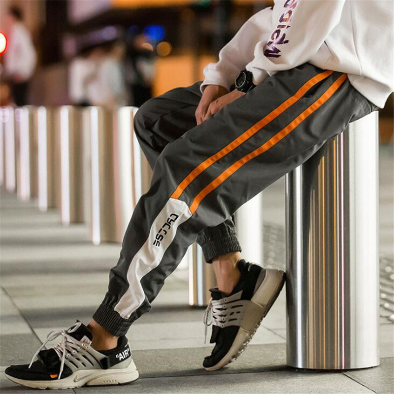 Joggers Pants Trousers Splice Streetwear Hip-Hop Fashion Men Casual Men's Elastic-Waist title=