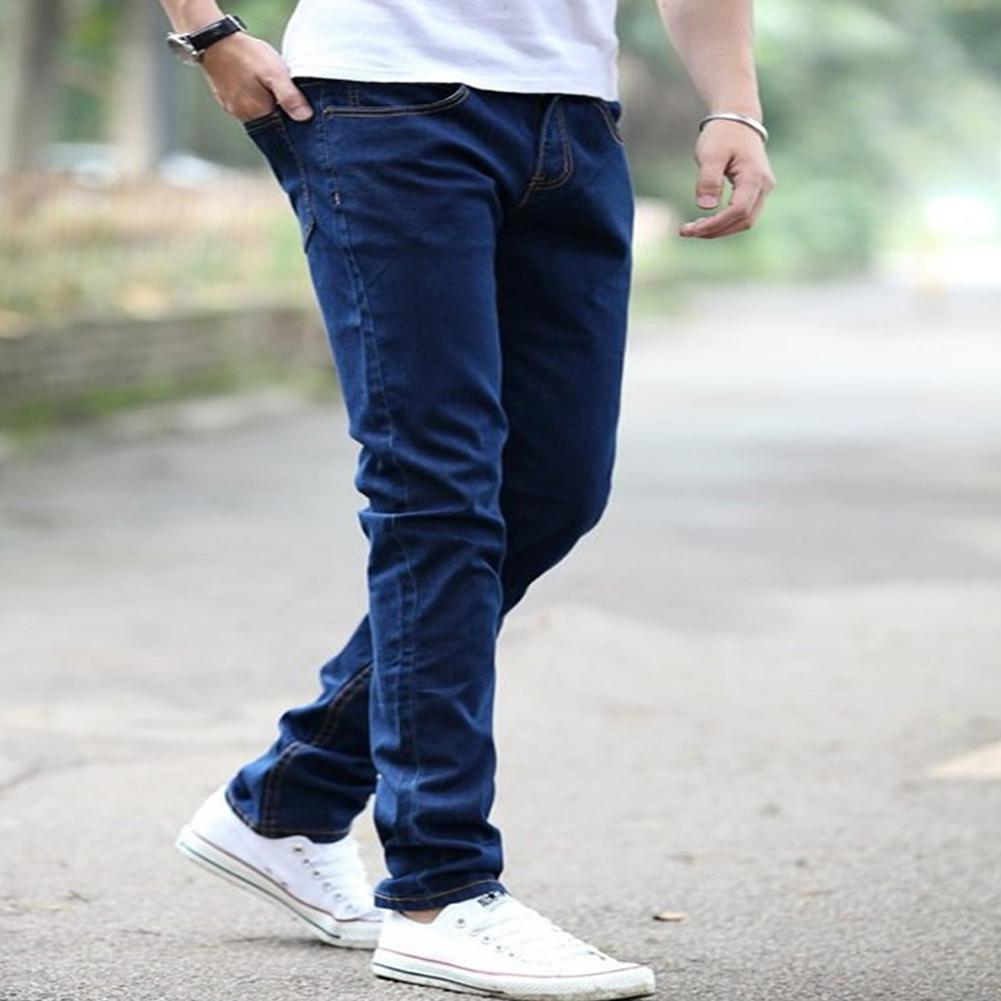 Winter Men Pants Slim Elastic Jeans Fashion Business Classic Style Skinny Jeans Wear-Resistant Thermal Denim Pants Trousers Male