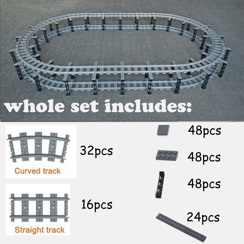 City Train Flexible Tracks trein double layer Track Rail Straight Curved Rails Building Block Brick Model Compatible LegoINGlys