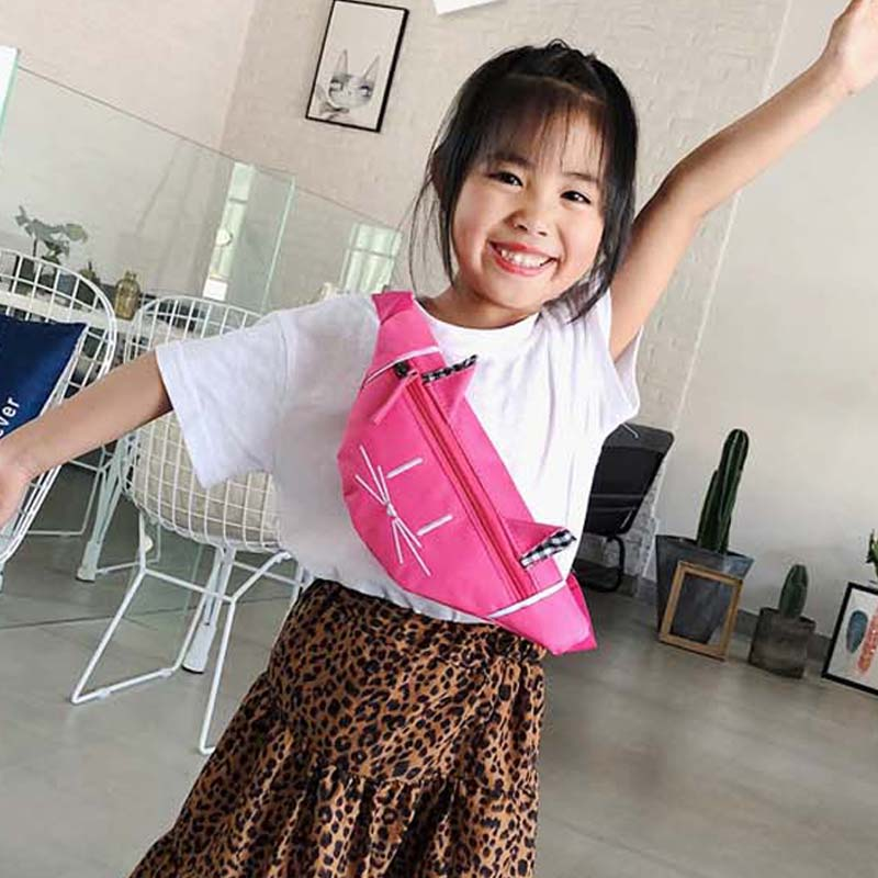New Child Waist Bag Girl Chest Bag Cute Cat Pattern Bag High Capacity Girl Funny Kidney Bags Banana Bag Nylon Crossbody Bags