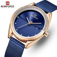 Relógios femininos naviforce marca superior moda feminina relógio de quartzo senhoras aço inoxidável à prova dwaterproof água relógio de pulso analógico data|Relógios femininos| |  -