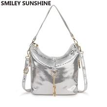 Silver women leather handbag small messenger crossbody bag for women 2019 female tassel shoulder bag ladies hand hobo bag black