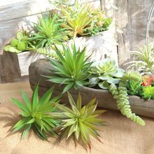 DIY Home Decoration Green Artificial Plant Bonsai Succulent Plastic Fake Plant Potted Real Touch Wedding Garden Decor
