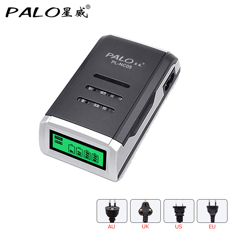 PALO Charger Universal C905W 4 Slots LCD Display Smart Intelligent Battery Charger for AA / AAA NiCD NiMH Rechargeable Batteries Зарядное устройство