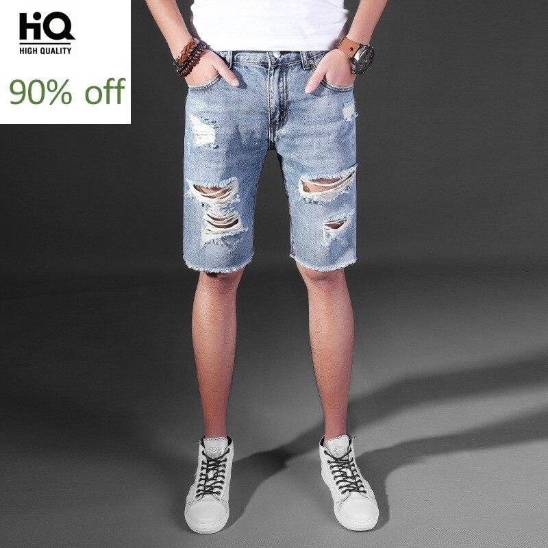 Knee Length Jeans Men Fashion American Style Frayed Denim Shorts Cotton Tassel Stretch Slim Short Jeans Homme Hip Hop Pants