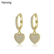 1 Pair Of Copper Zircon Crystal Hoop Earrings Trendy Golden Heart-shaped Love Earrings Jewelry For Woman Wedding Aesthetics pair of stunning rose wedding earrings jewelry for women
