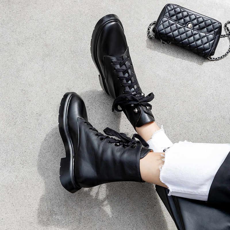 FEDONAS zapatos básicos informales cálidos de otoño invierno de piel auténtica para mujer, botas hasta el tobillo con cordones, zapatos de mujer redonda concisa para dedo del pie, botas