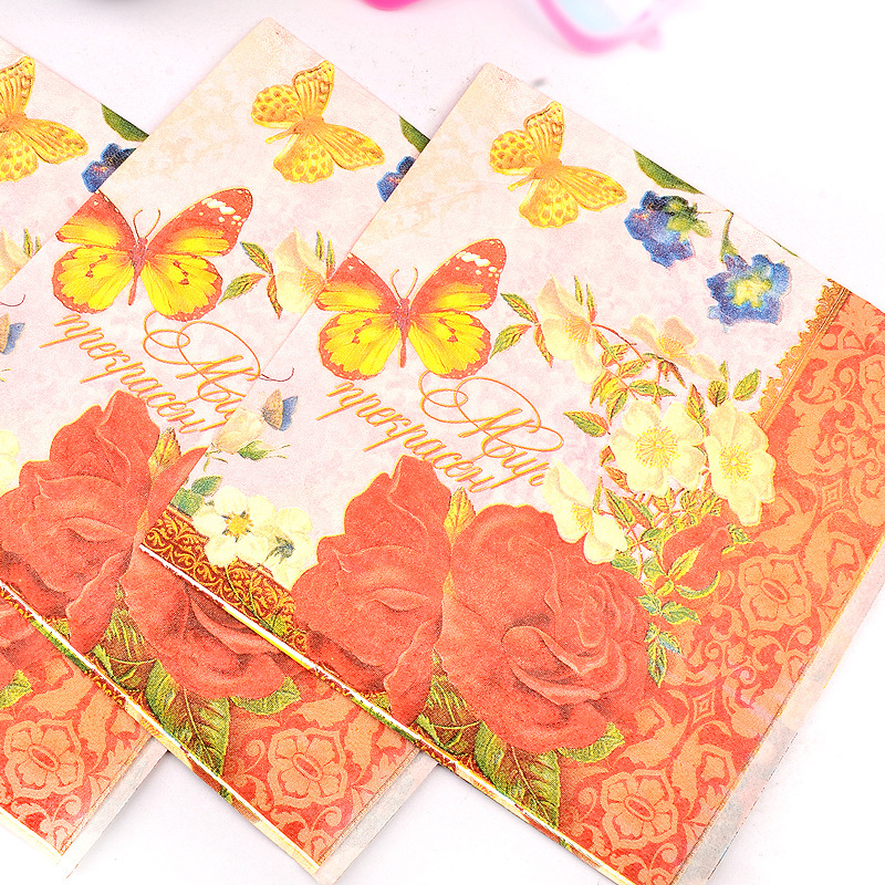 Lucky Bird Printed Napkin Hotel Wedding Banquet Wedding Can Ting Zhi Color Butterfly Napkin Wine Glass Flower Arrangement Paper